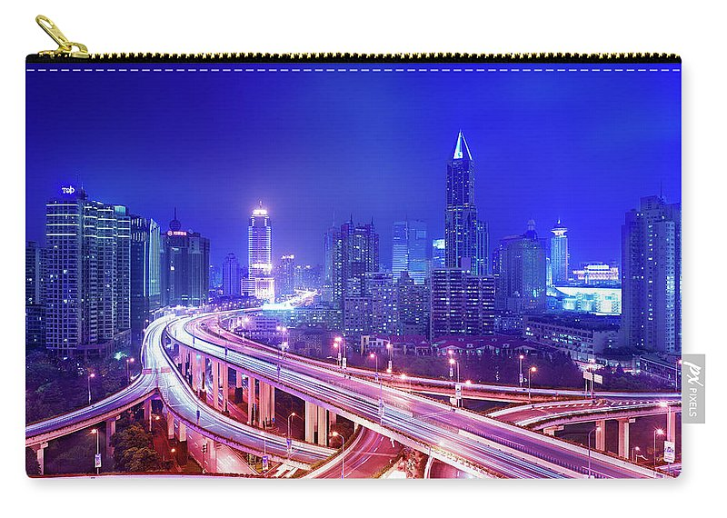 Blurred Motion Carry-all Pouch featuring the photograph Night View Of A Six-level Interchange by Xpacifica