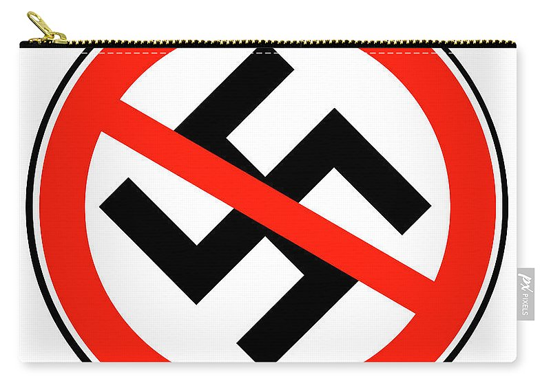Nazi Carry-all Pouch featuring the digital art No Nazi Street Sign by Bigalbaloo Stock