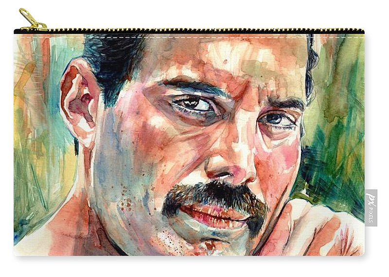 Freddie Mercury Carry-all Pouch featuring the painting No One But You - Freddie Mercury Portrait by Suzann Sines