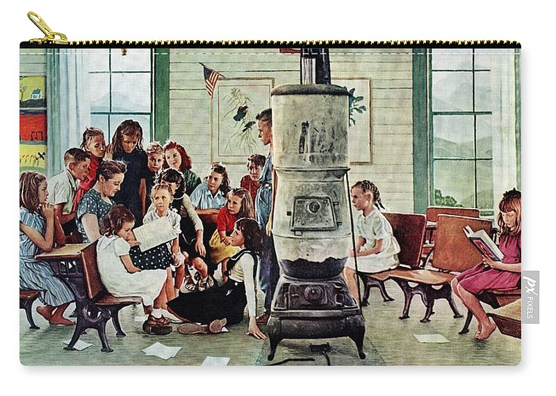 Book Carry-all Pouch featuring the drawing Norman Rockwell Visits A Country School by Norman Rockwell