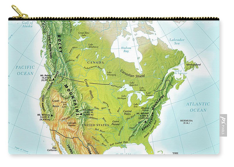 Compass Rose Carry-all Pouch featuring the digital art North America Continent Map, Relief by Globe Turner, Llc