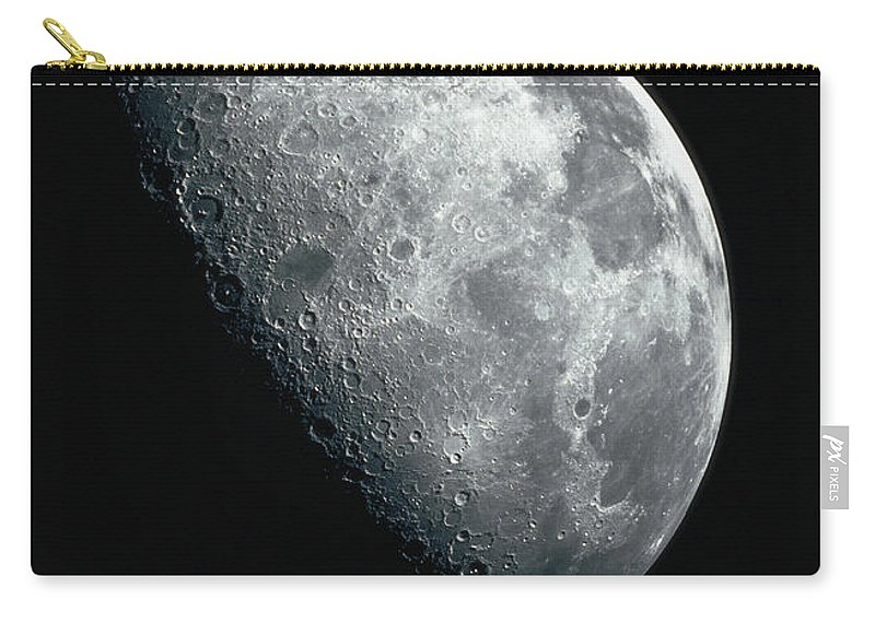 Clear Sky Carry-all Pouch featuring the photograph North Pole Of The Earths Moon by Stocktrek