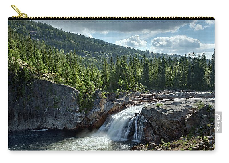 Scenics Carry-all Pouch featuring the photograph Norway Waterfall by Ralph Oechsle