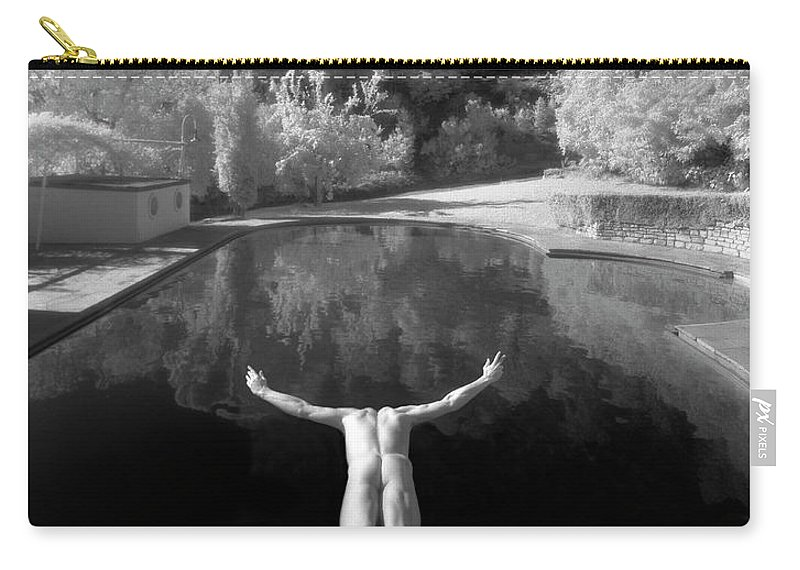 Diving Into Water Carry-all Pouch featuring the photograph Nude Male Diving Into Dark Poolicarus by Ed Freeman