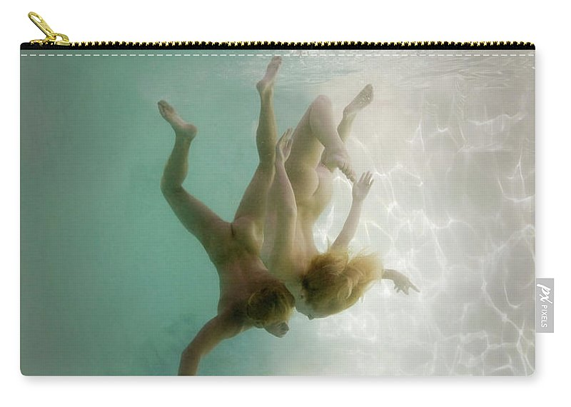 Young Men Carry-all Pouch featuring the photograph Nude Man And Woman Underwater by Ed Freeman
