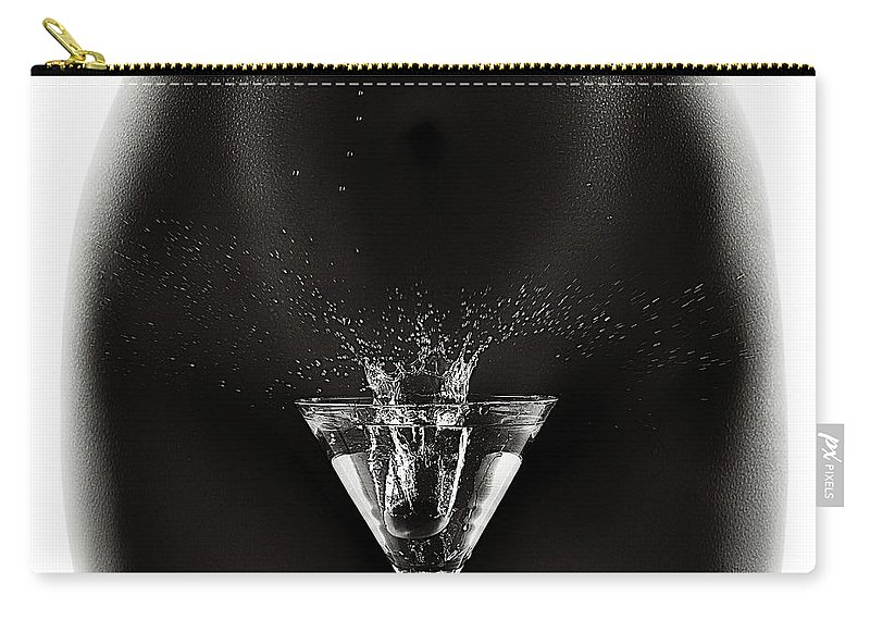Woman Carry-all Pouch featuring the photograph Nude Woman With Martini Splash by Johan Swanepoel