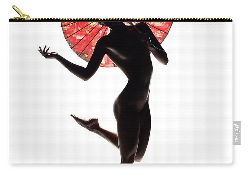Woman Carry-all Pouch featuring the photograph Nude Woman With Red Parasol by Johan Swanepoel