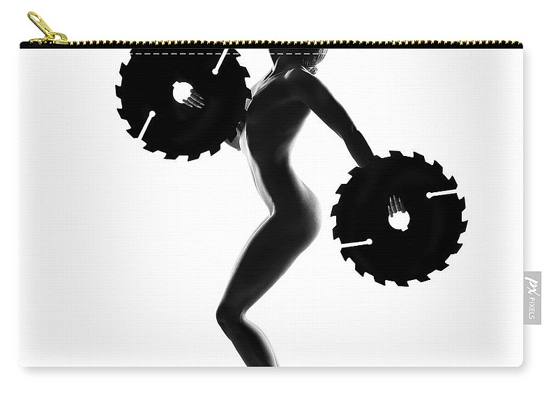 Woman Carry-all Pouch featuring the photograph Nude Woman With Saw Blade 4 by Johan Swanepoel
