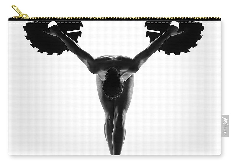 Woman Carry-all Pouch featuring the photograph Nude Woman With Saw Blade 5 by Johan Swanepoel