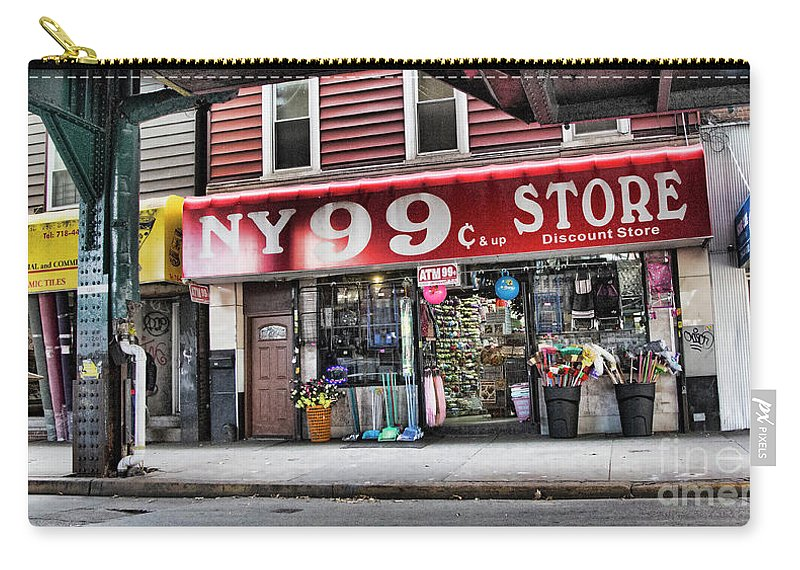 Ny Carry-all Pouch featuring the photograph Ny 99 Cent Store Brooklyn by Chuck Kuhn