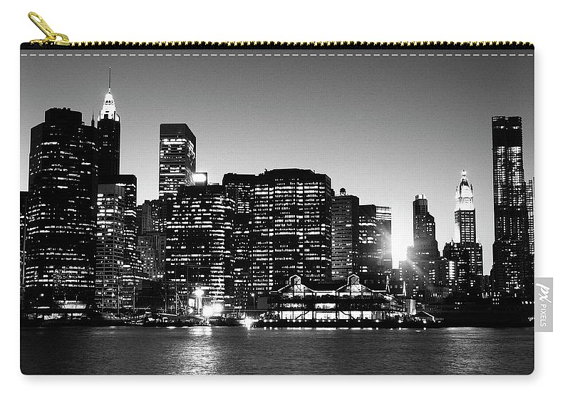 Lower Manhattan Carry-all Pouch featuring the photograph Nyc Skyline At Sunset by Lisa-blue