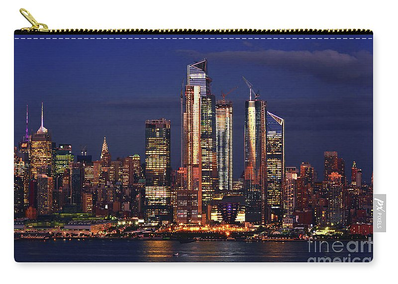 Nyc Twilgiht Hour Carry-all Pouch featuring the photograph Nyc Sundown Gold And Twilight Skies by Regina Geoghan