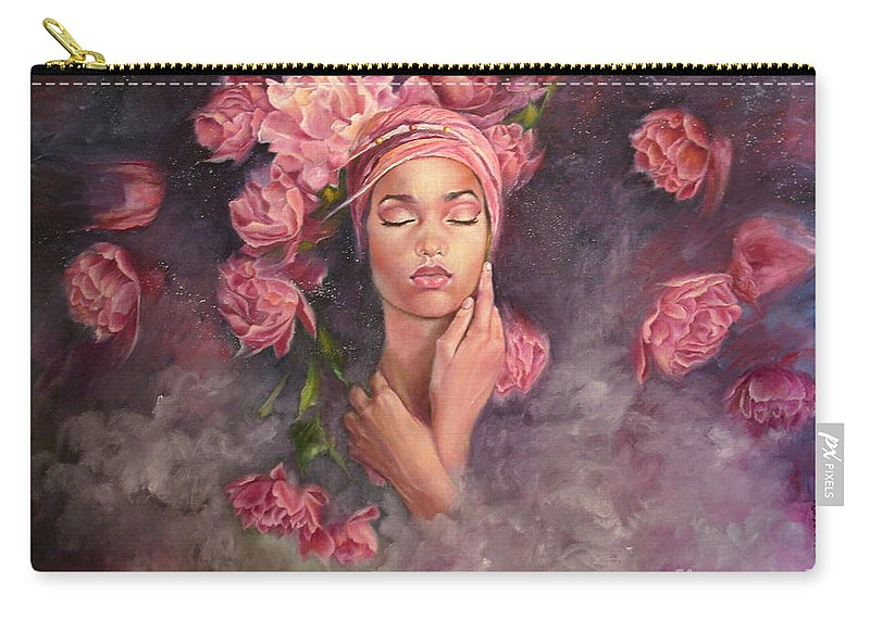 Oberon Girl Flowers Roses Face Surreal Night Sleep Dream Marlena Selin Carry-all Pouch featuring the painting Oberona by Marlena Selin