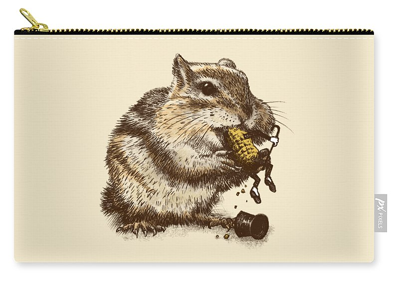 Chipmunk Carry-all Pouch featuring the drawing Occupational Hazard by Eric Fan