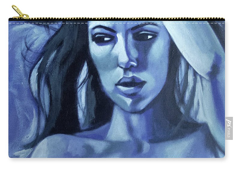 Portrait Carry-all Pouch featuring the painting Ocean Storm by Lee Wilde-Portraits