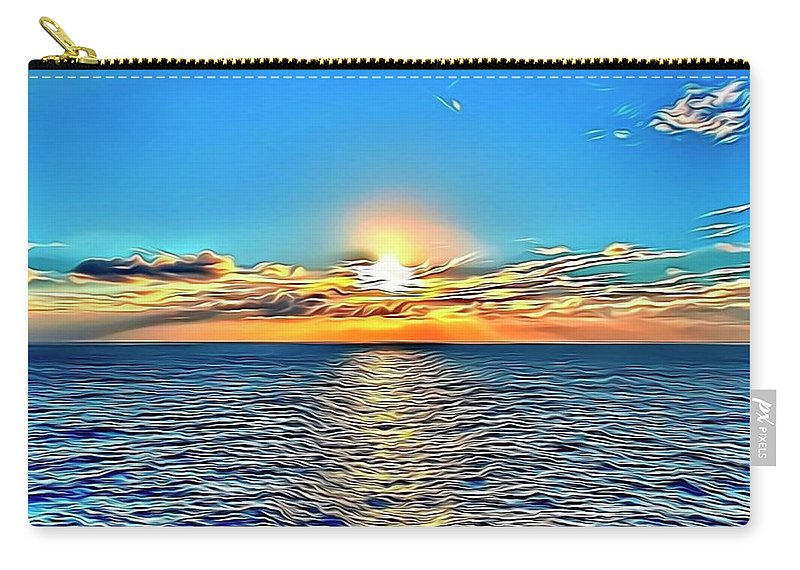 Ocean Carry-all Pouch featuring the digital art Ocean Sunrise by Russell Carter