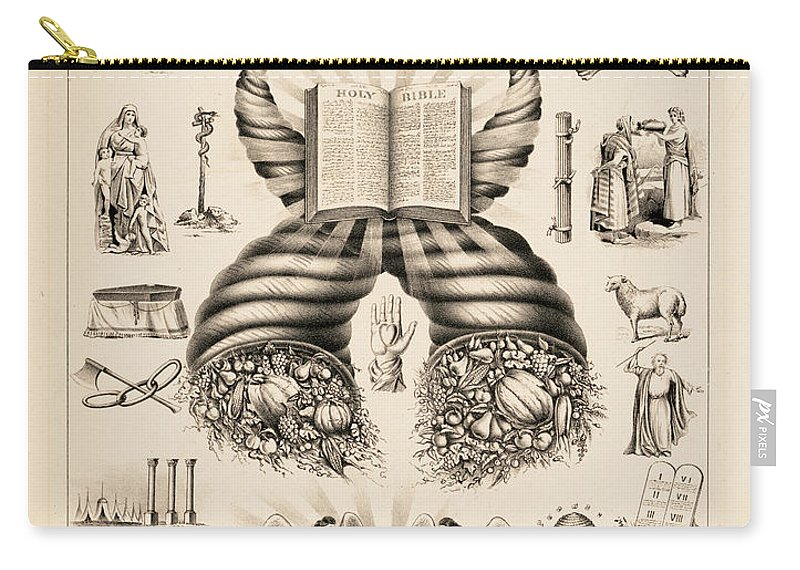 Odd-fellows Chart Carry-all Pouch featuring the painting Odd-fellows Chart, 1877 by American School