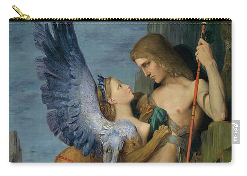 Gustave Moreau Carry-all Pouch featuring the painting Oedipus And The Sphinx - Digital Remastered Edition by Gustave Moreau