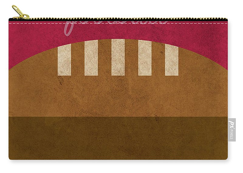Ohio State Carry-all Pouch featuring the mixed media Ohio State Football Minimalist Retro Sports Poster Series 003 by Design Turnpike