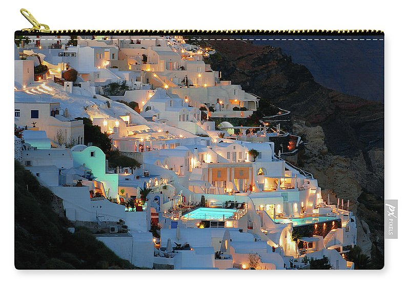 Tranquility Carry-all Pouch featuring the photograph Oia, Santorini Greece At Night by Marcel Germain