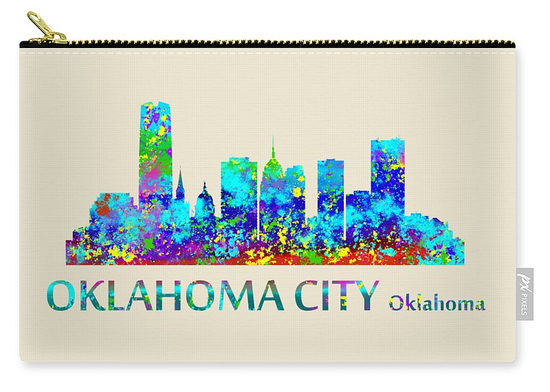 Oklahoma City Watercolor Carry-all Pouch featuring the digital art Oklahoma City Watercolor by David Millenheft