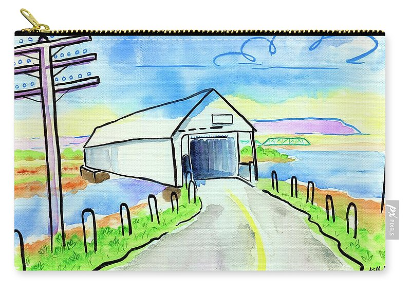 Old Covered Bridge Carry-all Pouch featuring the painting Old Covered Bridge - Avonport N.s. by Kevin Cameron