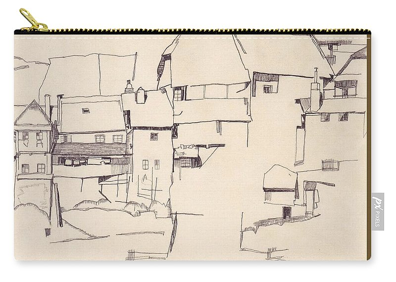 Egon Schiele (1890–1918 Carry-all Pouch featuring the painting Old Houses In Krumau    by Egon Schiele