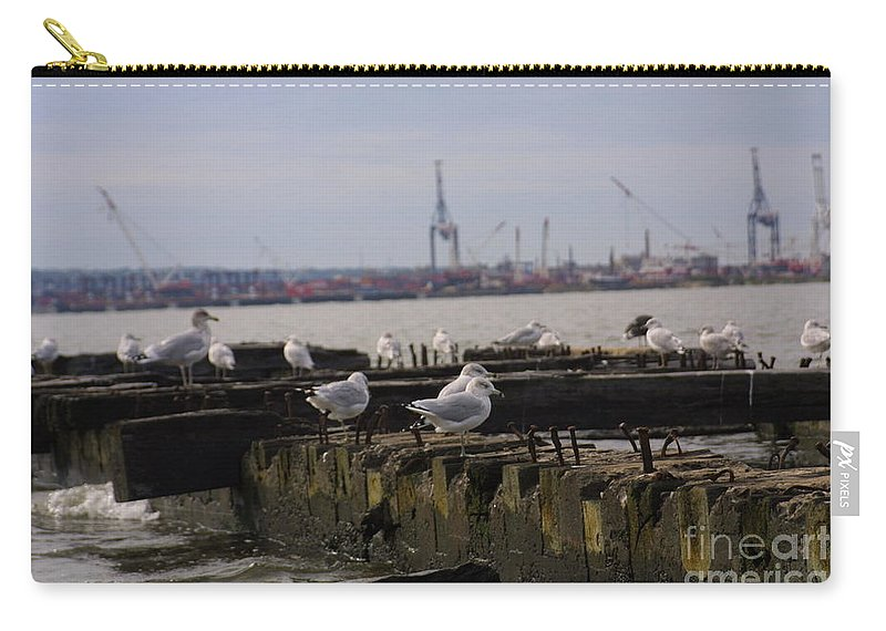 Shipping Yard Old Pier Carry-all Pouch featuring the photograph Old New Jersey Pier Statue State Park II by Darren Dwayne Frazier