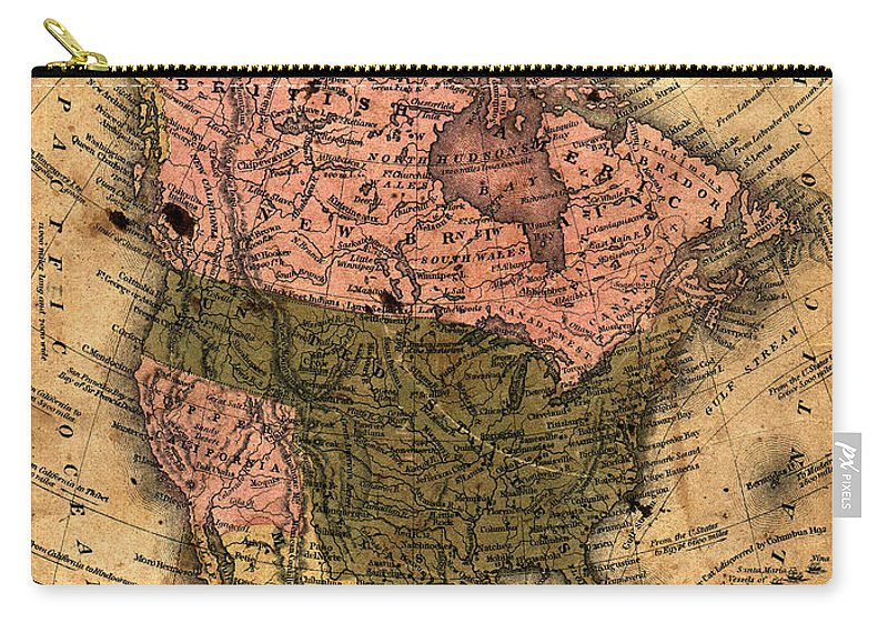 Outdoors Carry-all Pouch featuring the photograph Old North America Map by Belterz