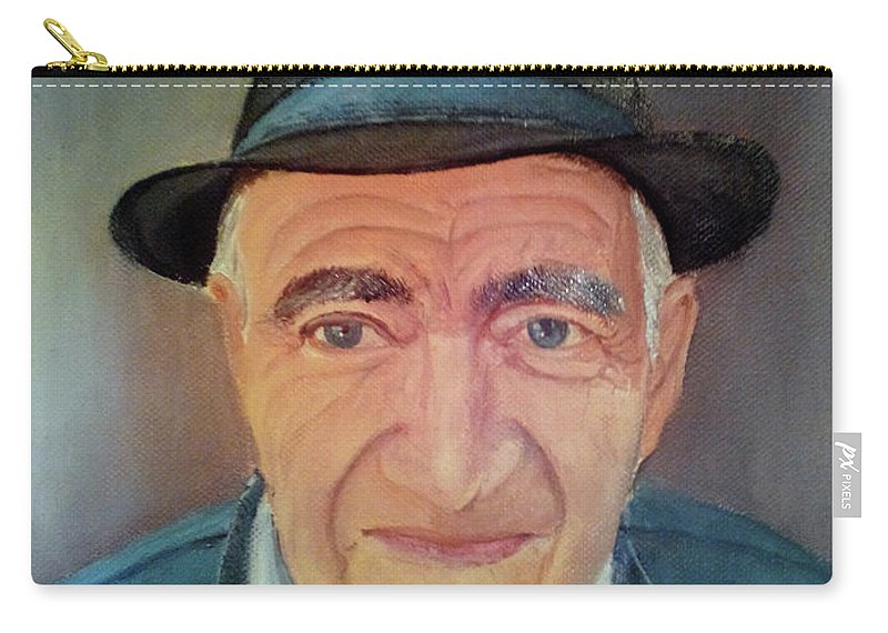 Carry-all Pouch featuring the painting Old Portrait. by Calin Vacaru