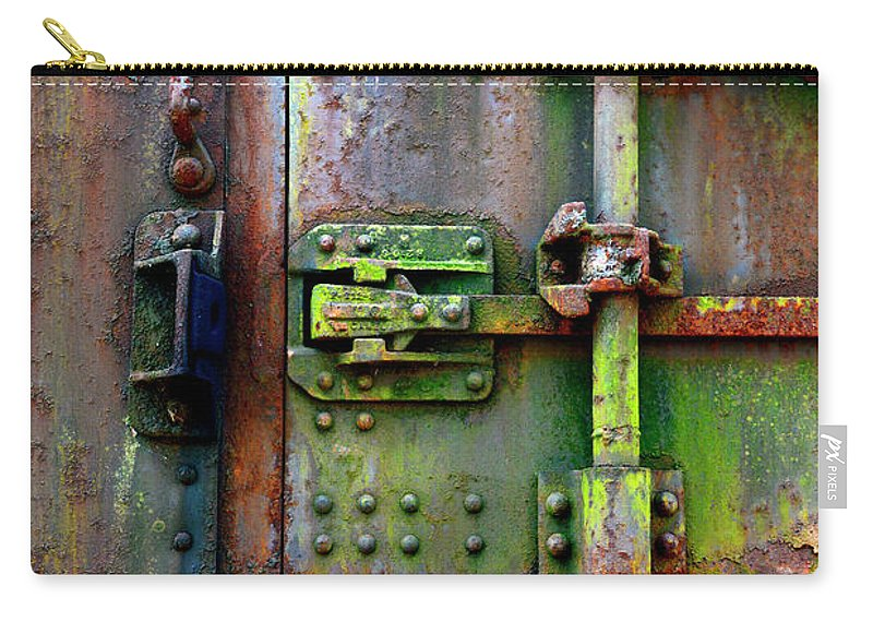 Railroad Carry-all Pouch featuring the photograph Old Weathered Railroad Boxcar Door by Paul W Faust - Impressions of Light