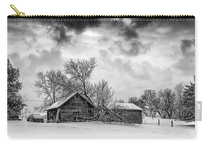 Winter Carry-all Pouch featuring the photograph On A Winter Day Monochrome by Steve Harrington