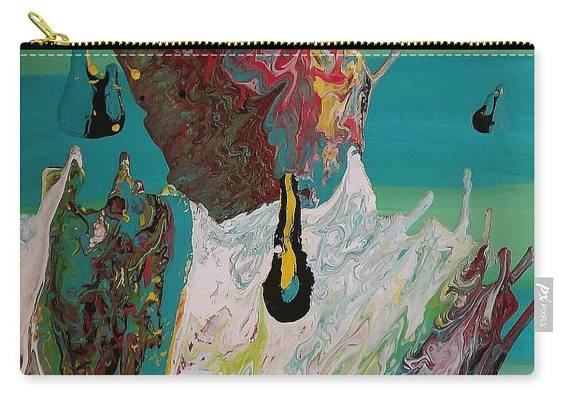 Acrylic Pour Carry-all Pouch featuring the painting Once Upon A Planet by Lori MacLean