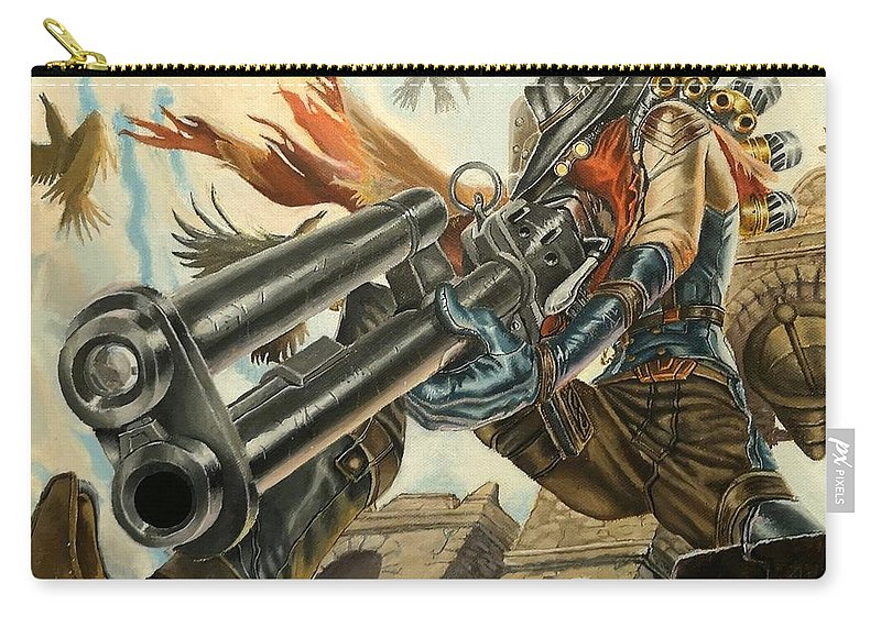 Sniper Carry-all Pouch featuring the painting One Bullet, One Kill by Helena Brnadic
