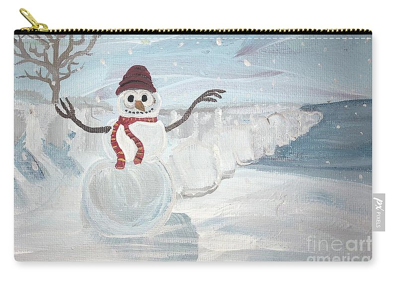 Snowman Carry-all Pouch featuring the painting One Last Swim by Chris Dippel