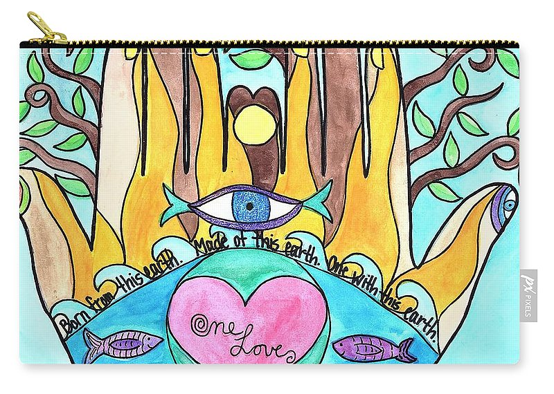 Eco Inspired Art Carry-all Pouch featuring the painting One Love One Earth by Jessica Karpinske