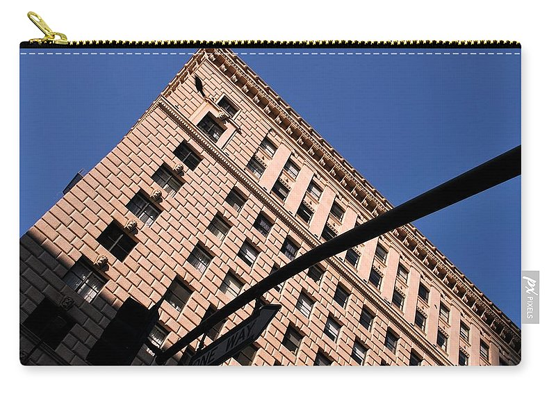 City Carry-all Pouch featuring the photograph One Way Golden Architecture by Matt Quest