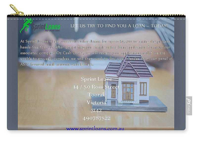 Online Loans Carry-all Pouch featuring the ceramic art Online Payday Loans by Sprint Loans