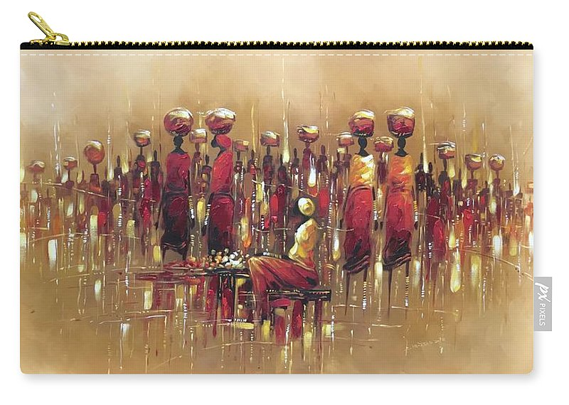Market Carry-all Pouch featuring the painting Open Market I by Kwame Boama Mensa-Aborampa