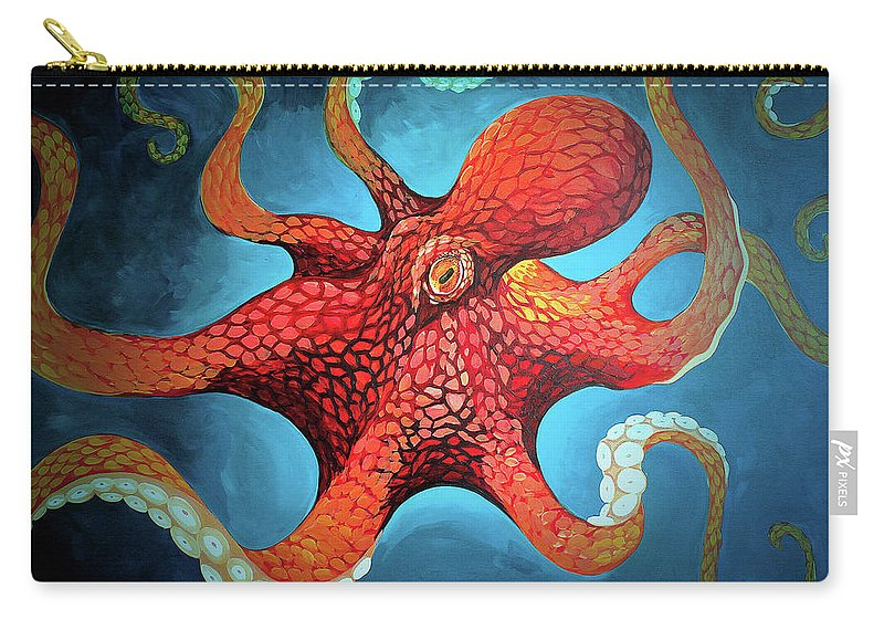 Octopus Carry-all Pouch featuring the painting Optical Octopus by Joshua Hendry