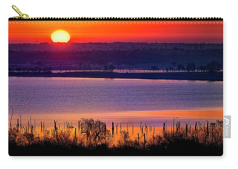 Scenics Carry-all Pouch featuring the photograph Orange Sunrise On Benbrook Lake by Dean Fikar