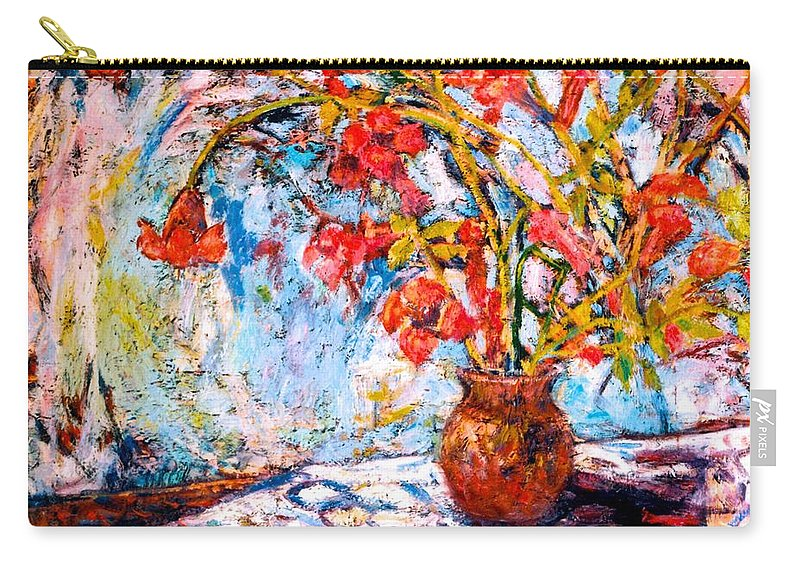Trumpet Flowers Carry-all Pouch featuring the painting Orange Trumpet Flowers by Kendall Kessler