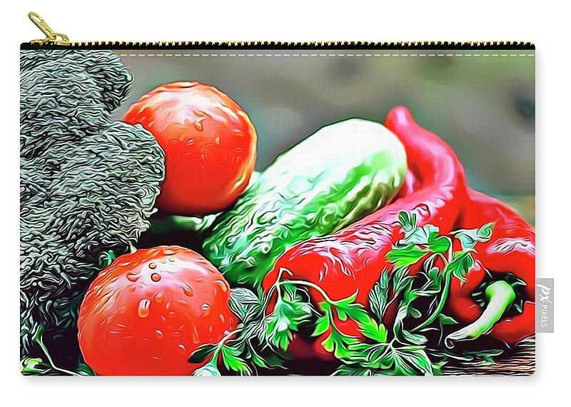 Organic Carry-all Pouch featuring the digital art Organic Veg by Russ Carts