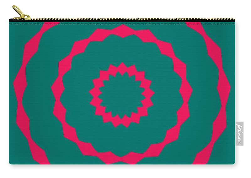 Round Carry-all Pouch featuring the painting Ornament Number Five by Alex Caminker