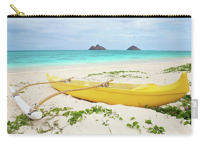 Scenics Carry-all Pouch featuring the photograph Outrigger Canoe Lanikai Beach by M Swiet Productions