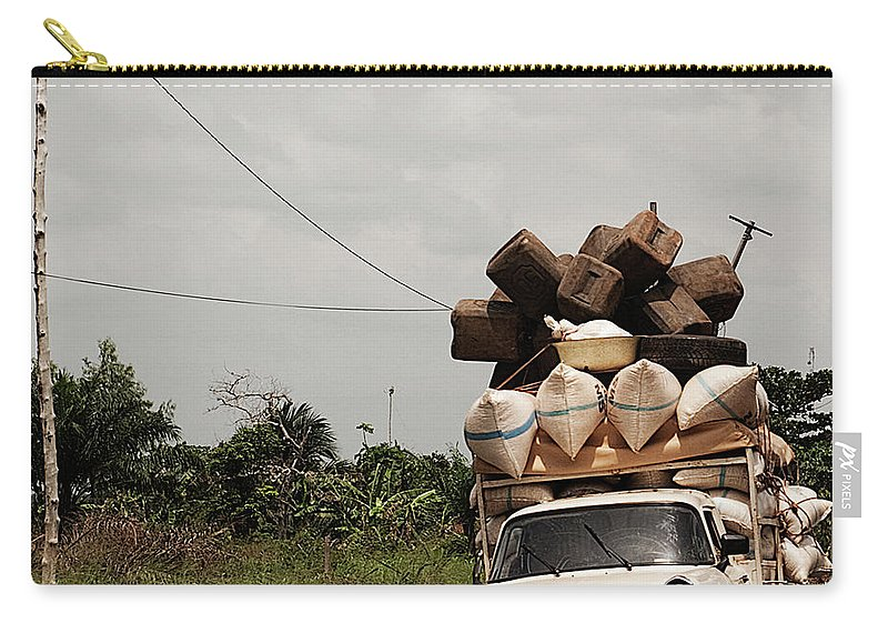 Transfer Print Carry-all Pouch featuring the photograph Overloaded Car by Rodriguez Art Work