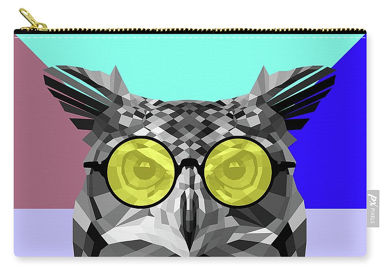 Owl Carry-all Pouch featuring the digital art Owl In Yellow Glasses by Naxart Studio