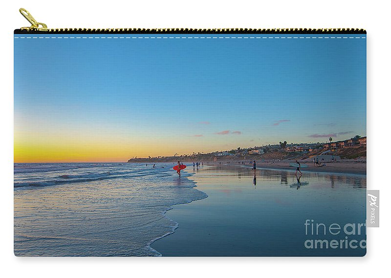 Sunset Carry-all Pouch featuring the photograph Pacific Beach Sunset by Roman Gomez