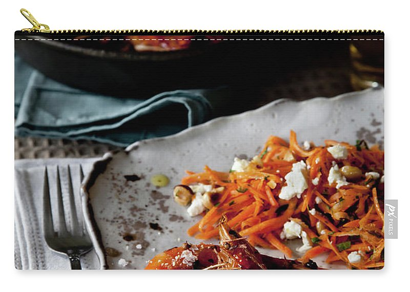 Napkin Carry-all Pouch featuring the photograph Pan Roasted Shrimp Salad On A Handmade by Kelly Sterling Photography