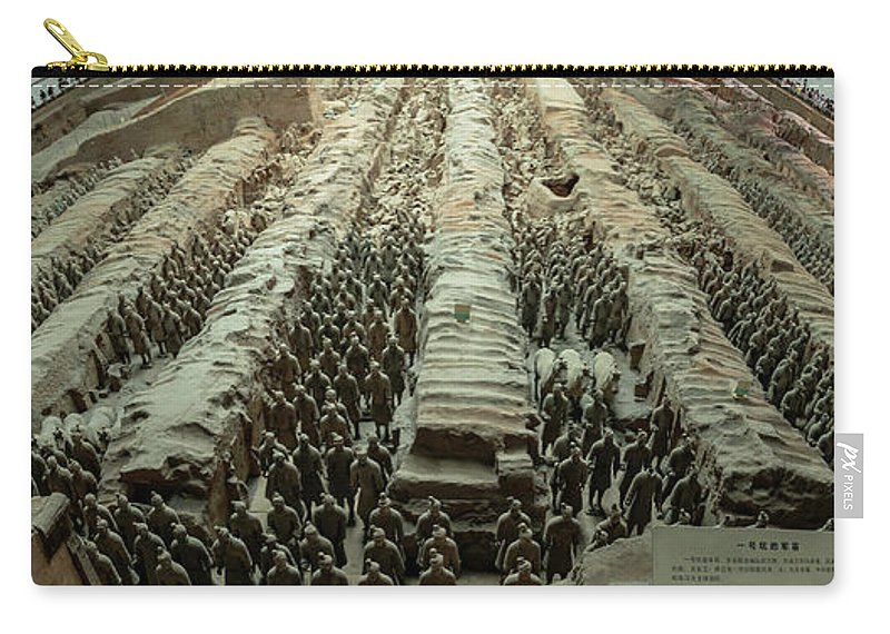 Warrior Carry-all Pouch featuring the photograph Panorama Of Pit 1, Terra Cotta Warriors by Karen Foley
